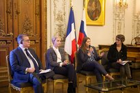 M. Stéphane Tortajada, Group Head of Finance and Investments, EDF Group, Mme Polina Lion, director of Sustainable development, Roasatom, Mme Tatyana Orlova, Head of corporate Finance, RJD et Mme Sandrine Enguehard